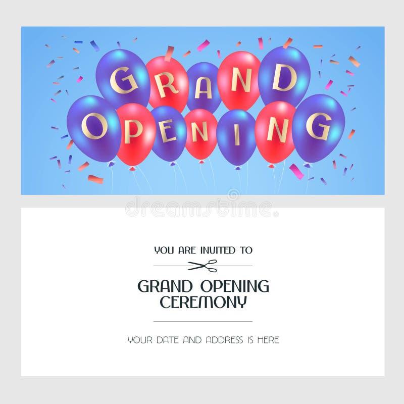 Illustration de vecteur d'ouverture officielle, carte d'invitation illustration de vecteur