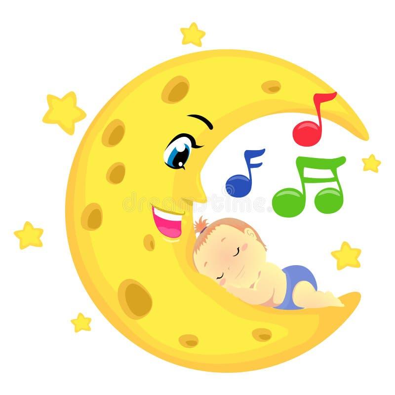 Illustration de vecteur d'un bébé dormant sur la lune avec les notes musicales illustration libre de droits