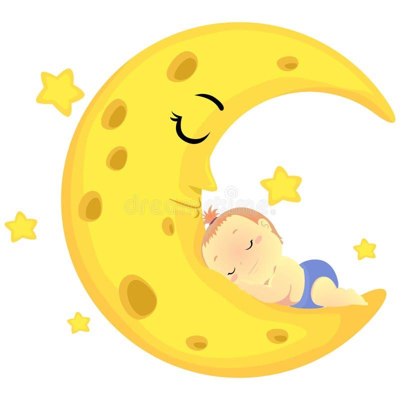 Illustration de vecteur d'un bébé dormant sur la lune de sommeil illustration de vecteur