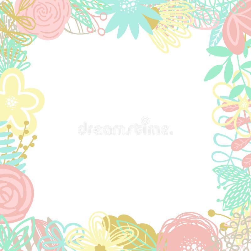 Illustration de vecteur d'un cadre carré fait d'éléments floraux tirés par la main Une image pour la décoration des cartes, des i illustration libre de droits
