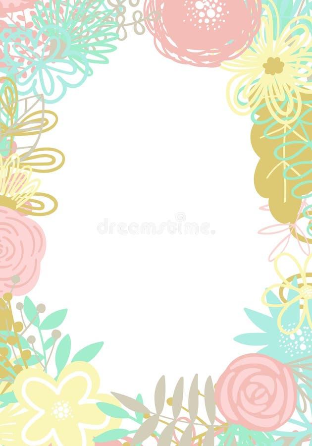 Illustration de vecteur d'un cadre ovale fait d'éléments floraux tirés par la main Une image pour la décoration des cartes, des i illustration libre de droits