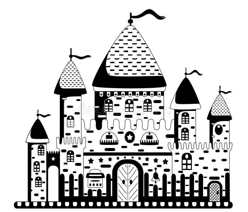 Illustration de vecteur d'un château de bande dessinée photos stock