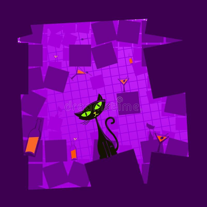 Illustration de vecteur d'un chat noir de dessin animé illustration de vecteur