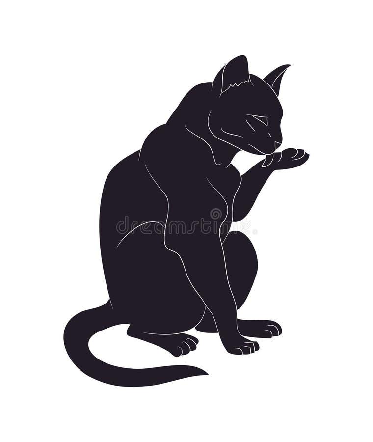 Illustration de vecteur d'un chat qui lèche sa patte, dessinant la silhouette illustration stock