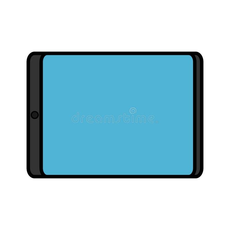 Illustration de vecteur d'un comprimé mobile rectangulaire numérique numérique moderne simple d'icône plate d'isolement sur le fo illustration de vecteur