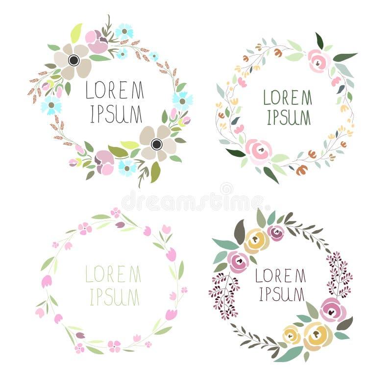 Illustration de vecteur d'un ensemble floral de guirlande illustration de vecteur