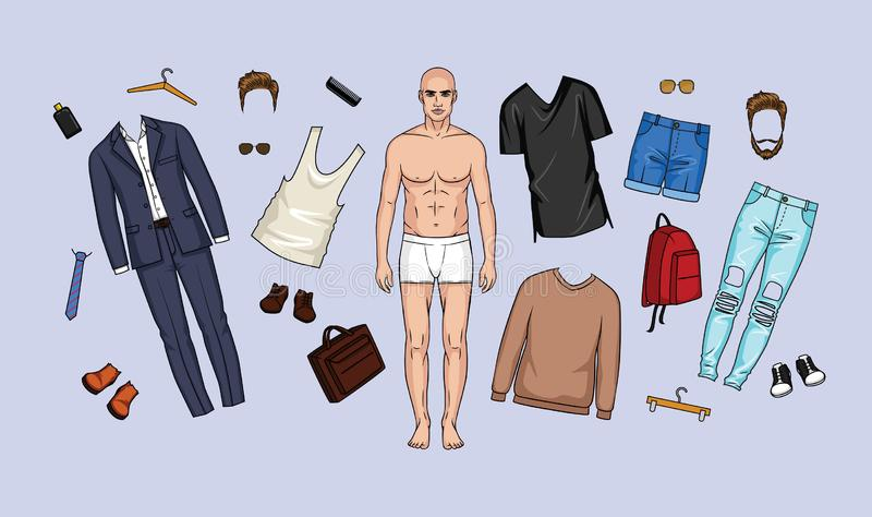 Illustration de vecteur d'un ensemble de vêtements et d'accessoires pour les hommes illustration de vecteur