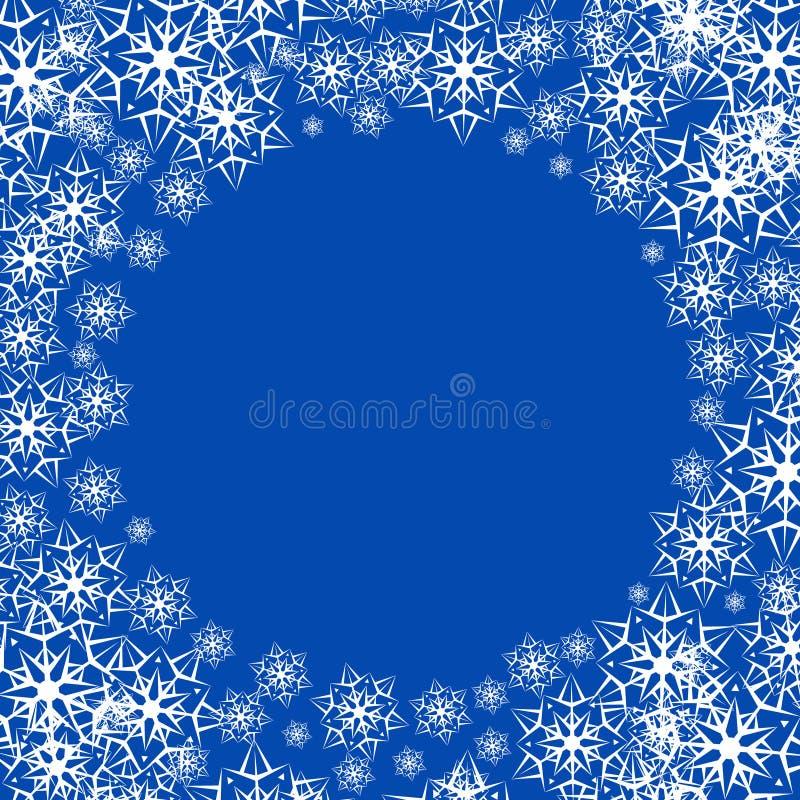 Illustration de vecteur d'un fond neigeux d'hiver Flocons de neige sur le fond bleu illustration libre de droits