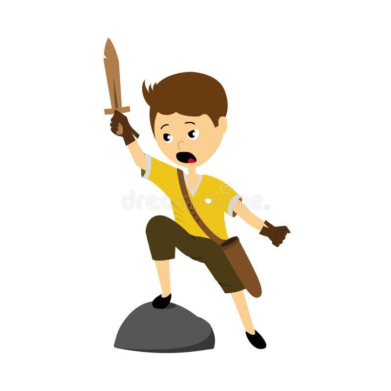 Illustration de vecteur d'un garçon avec l'épée illustration libre de droits