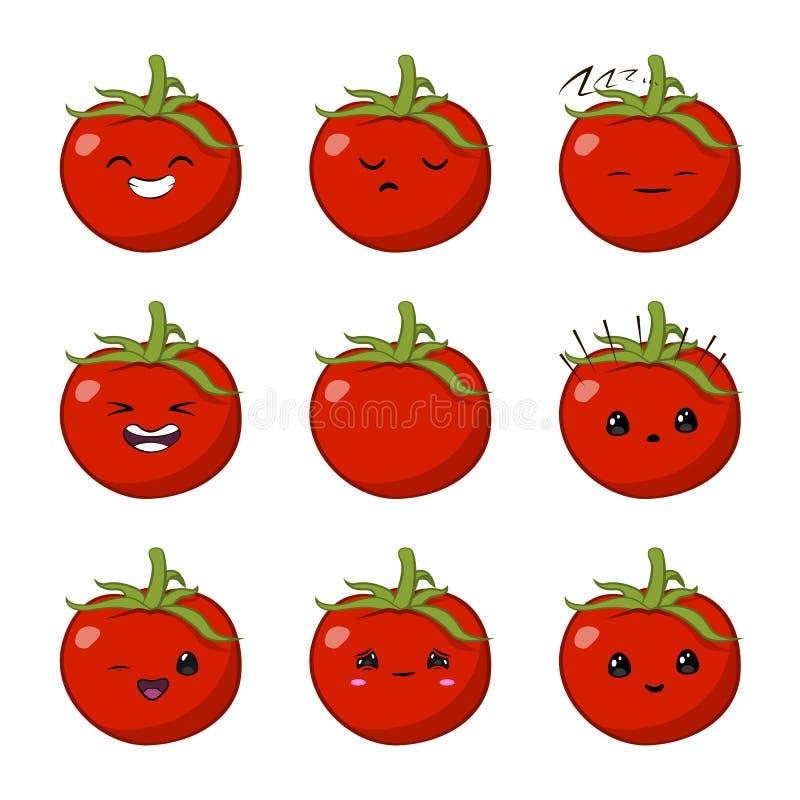 Illustration de vecteur d'un jeu de caractères végétal de vecteur de bande dessinée mignonne de tomate d'isolement sur le blanc é illustration stock