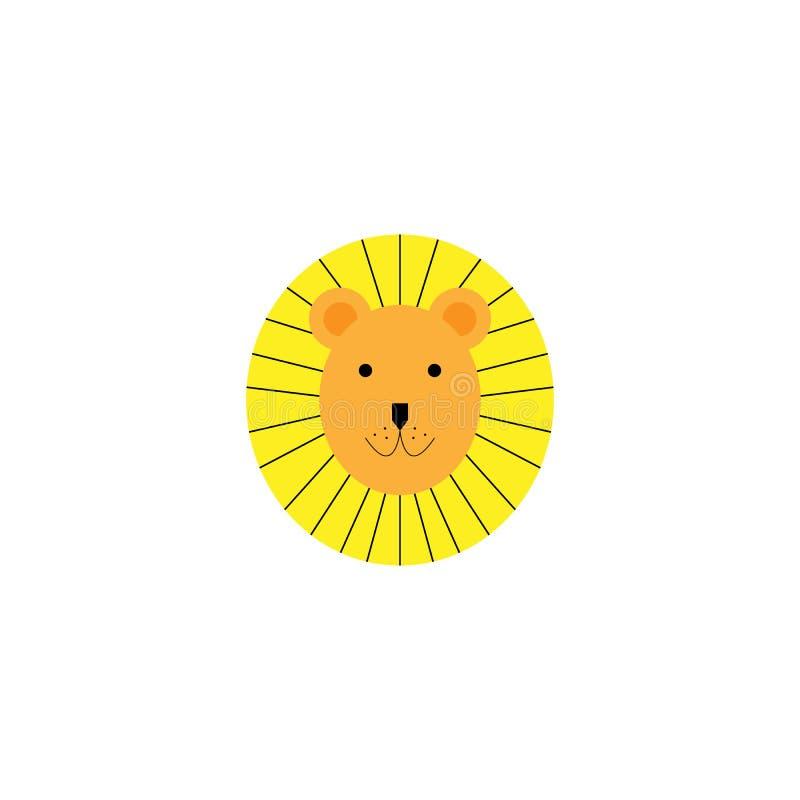 Illustration de vecteur d'un lion drôle mignon Objet d'isolement Conception plate Concept pour la copie d'enfants illustration libre de droits