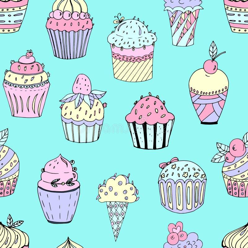 Illustration de vecteur d'un modèle sans couture des gâteaux de différentes couleurs et formes Petits gâteaux avec des rempli illustration de vecteur