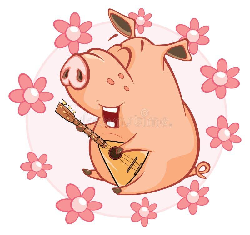 Illustration de vecteur d'un porc mignon le chef heureux de crabots mignons effrontés de personnage de dessin animé de fond a iso illustration de vecteur