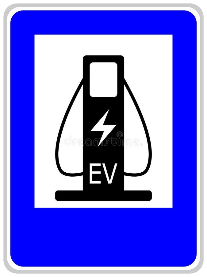 Illustration de vecteur d'un poteau de signalisation bleu montrant deux câbles pour charger les voitures électriques illustration stock