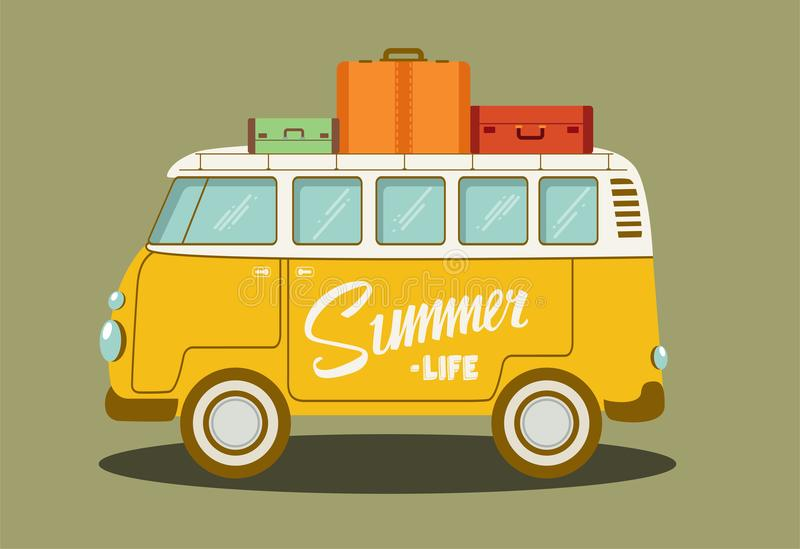 Illustration de vecteur d'un rétro autobus photo stock