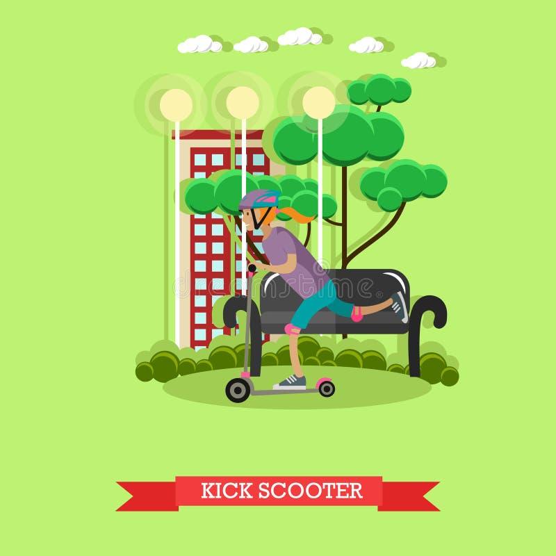 Download Illustration De Vecteur D'un Scooter De Coup-de-pied D'équitation De Fille, Style Plat Illustration de Vecteur - Illustration du people, loisirs: 87706368