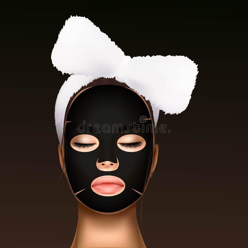 Illustration de vecteur d'un visage réaliste d'une jeune belle fille avec un bandage cosmétique sur ses cheveux et hydrater illustration stock
