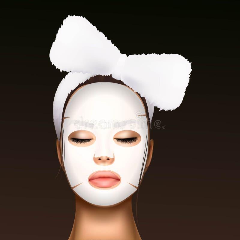 Illustration de vecteur d'un visage réaliste d'une jeune belle fille avec un bandage cosmétique sur ses cheveux et hydrater image libre de droits