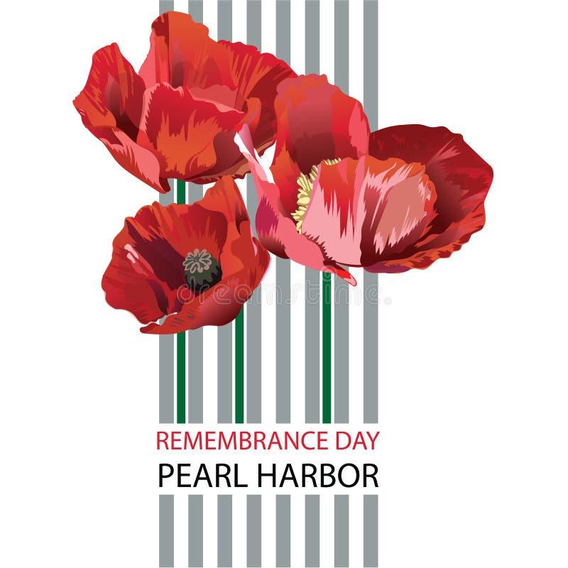 Illustration de vecteur d'une bannière pour le jour de souvenir de Pearl Harbor illustration libre de droits