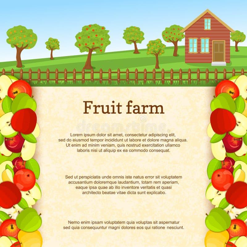 Illustration de vecteur d'une ferme de fruit Frontière juteuse de fruit de pomme photos stock