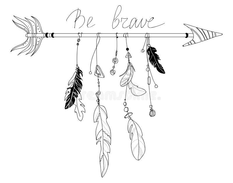 Illustration de vecteur d'une flèche avec des plumes Totem stylisé indien Dessin noir et blanc à la main art linéaire illustration libre de droits