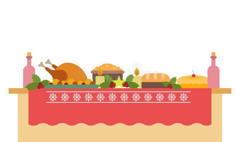 Illustration de vecteur d'une grande table de banquet avec des boissons et la consommation illustration de vecteur