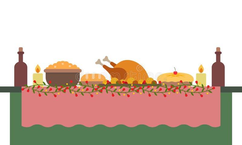 Illustration de vecteur d'une grande table de banquet avec des boissons et des nourritures illustration stock