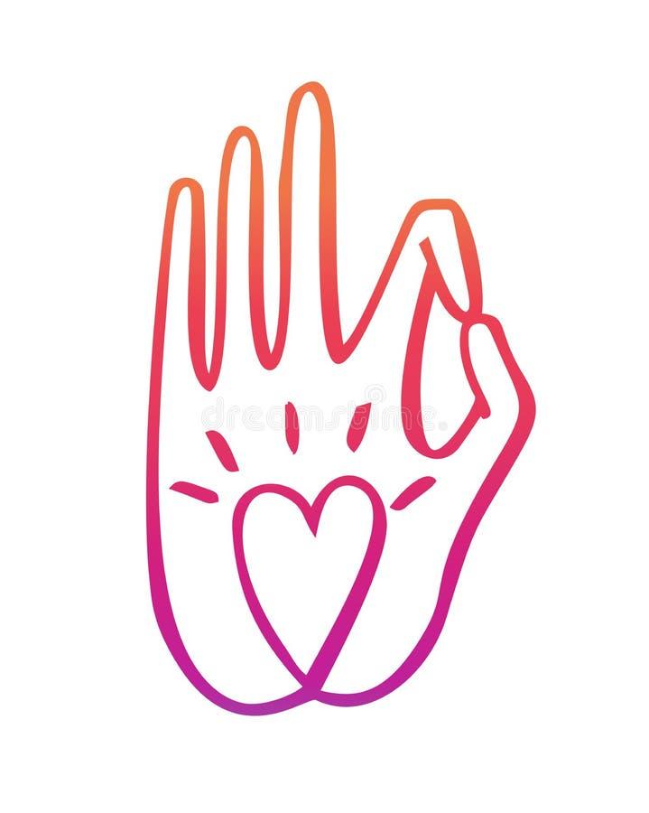 Illustration de vecteur d'une main dans un geste bouddhiste avec un symbole de coeur illustration stock
