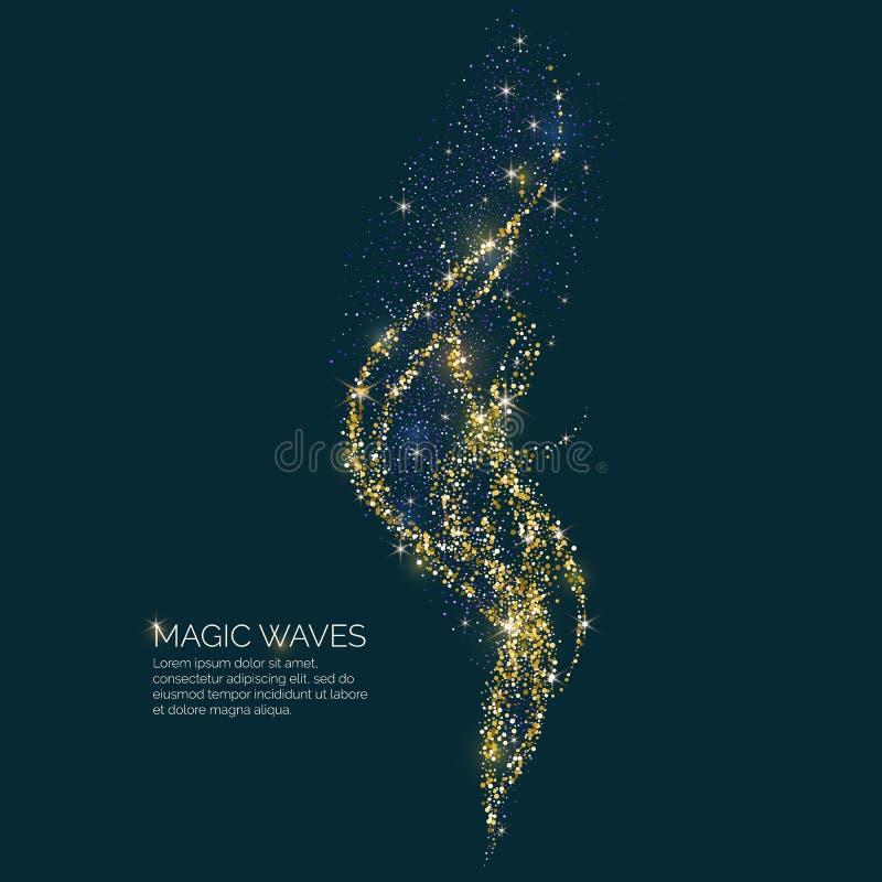Illustration de vecteur d'une vague magique avec les particules brillantes du scintillement sur un fond foncé Concept abstrait illustration libre de droits