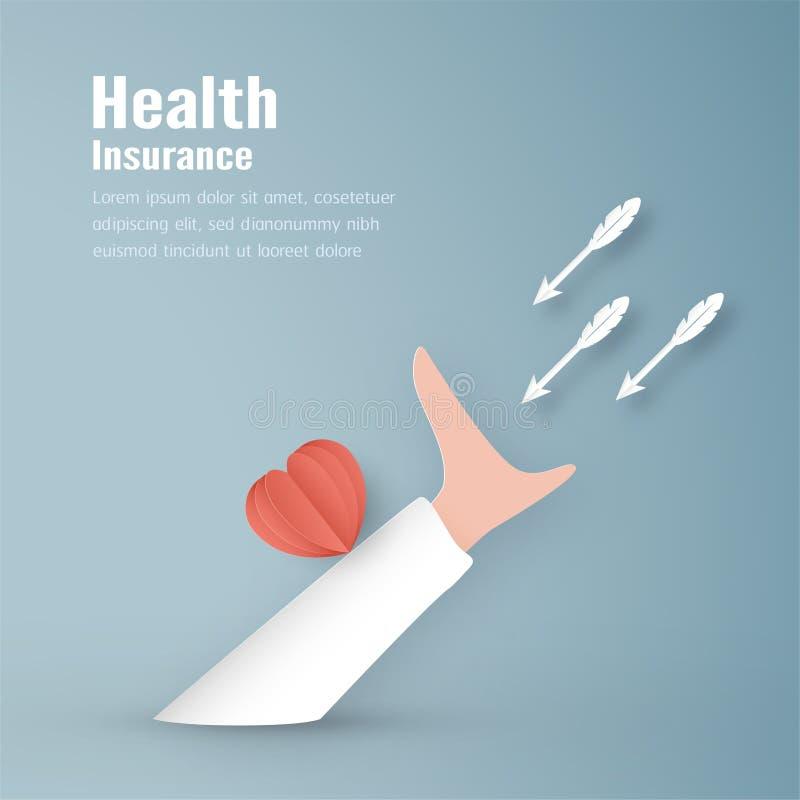 Illustration de vecteur dans le concept de l'assurance médicale maladie La conception de calibre est sur le fond bleu en pastel p illustration de vecteur