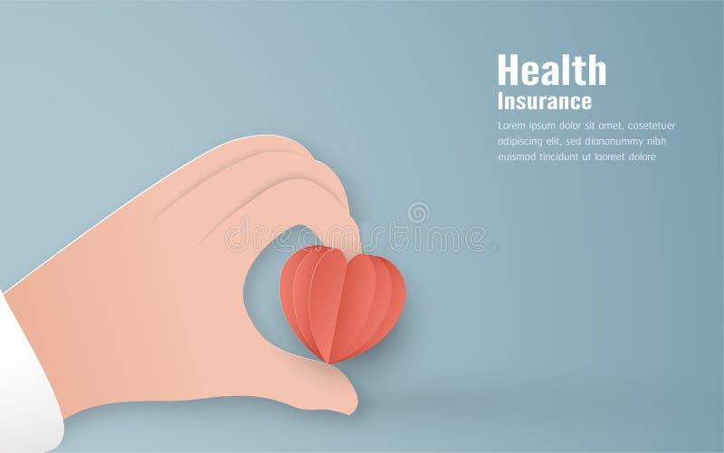 Illustration de vecteur dans le concept de l'assurance médicale maladie La conception de calibre est sur le fond bleu en pastel p illustration stock