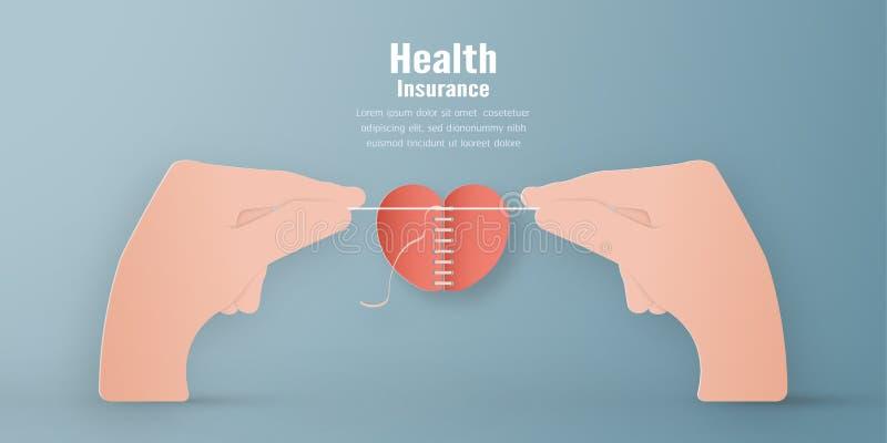 Illustration de vecteur dans le concept de l'assurance m?dicale maladie La conception de calibre est sur le fond bleu en pastel p illustration stock