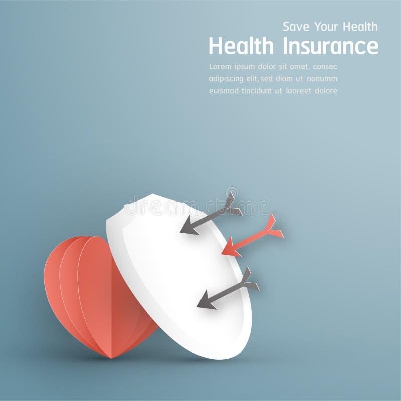 Illustration de vecteur dans le concept de l'assurance m?dicale maladie La conception de calibre est sur le fond bleu en pastel p illustration libre de droits