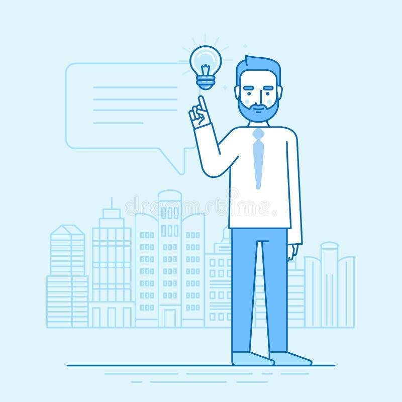 Illustration de vecteur dans le style linéaire plat et couleurs bleues - créez illustration libre de droits