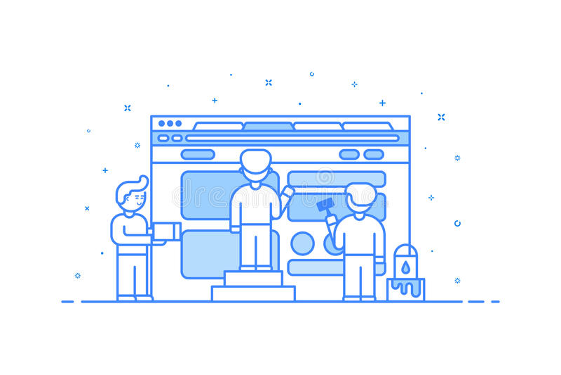 Illustration de vecteur dans le style plat d'ensemble Concept de construction graphique de Web et de développement d'interface ut illustration libre de droits