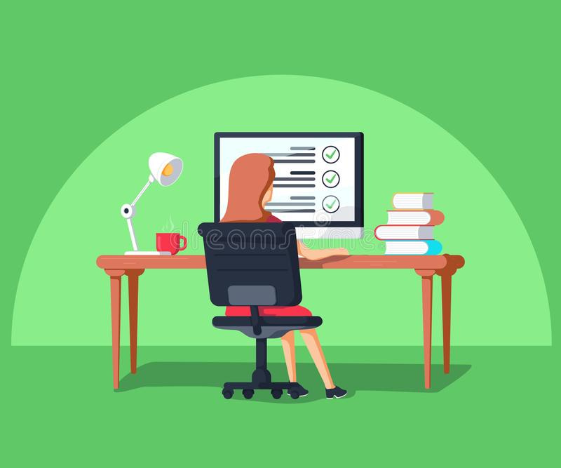 Illustration de vecteur dans le style plat Femme s'asseyant à l'ordinateur Externalisez le chef de projet travaillant à distance illustration stock