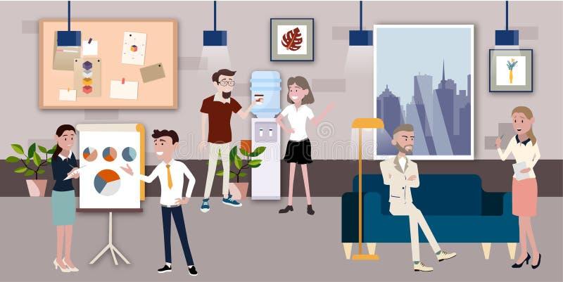 Illustration de vecteur dans un style plat des femmes, des hommes et de patron de travailleurs d'équipe de local commercial dans  illustration stock