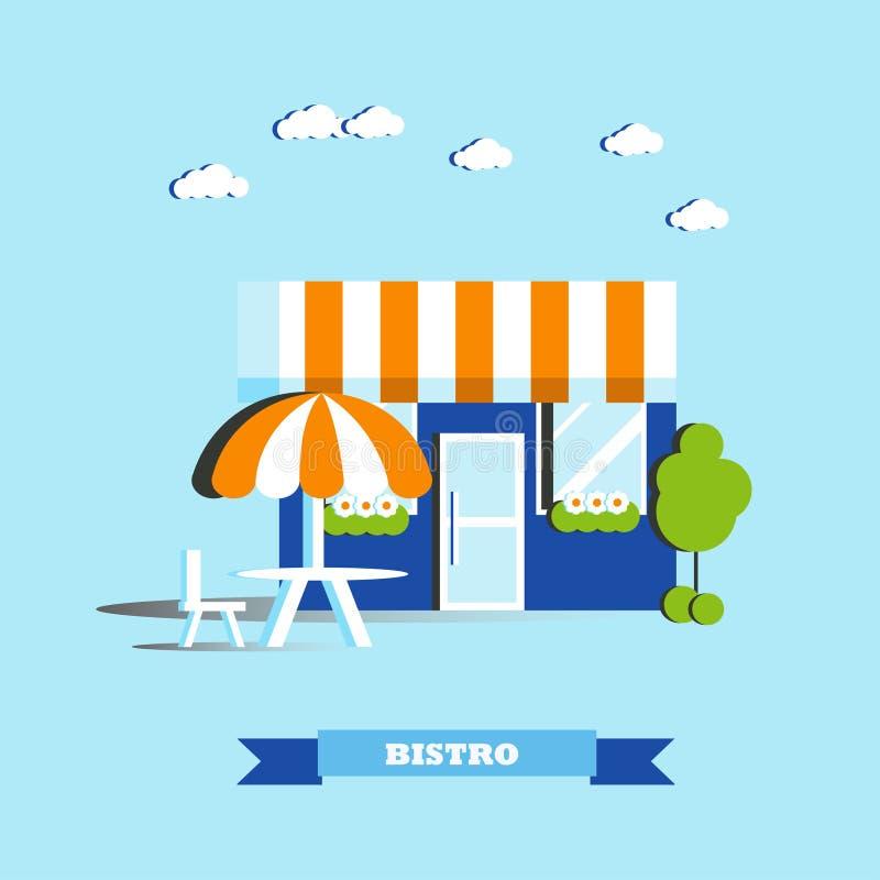 Illustration de vecteur de bâtiment de café de ville dans le style plat Concept de restaurant de Bistros de rue illustration stock