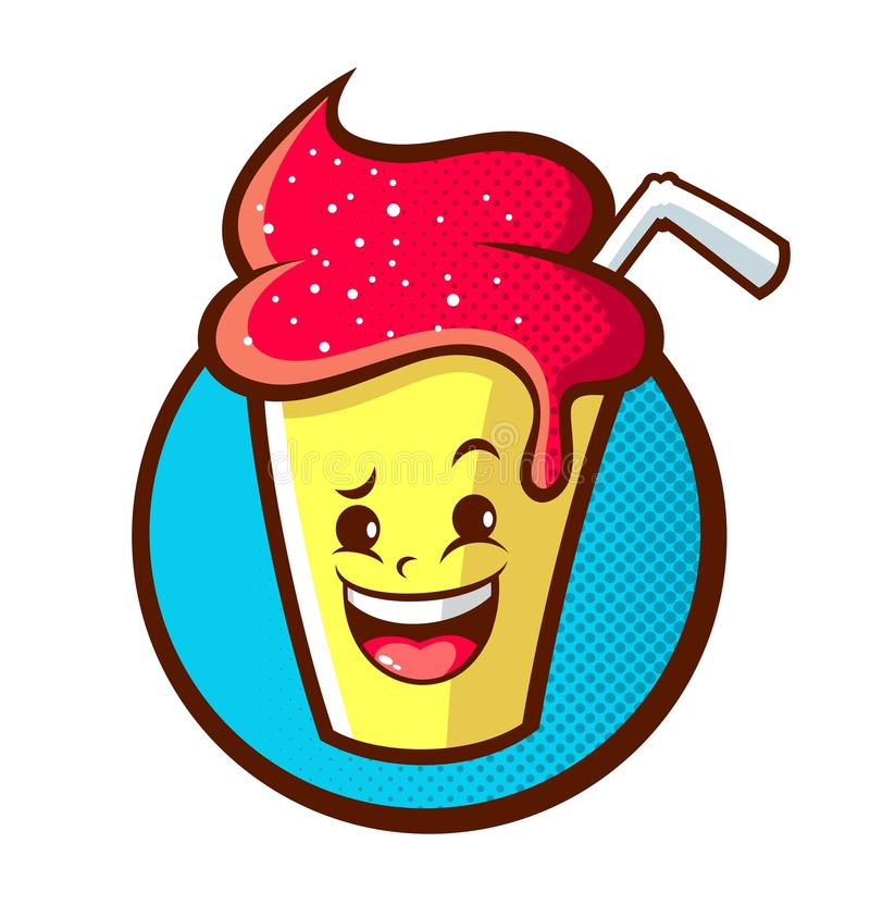 Illustration de vecteur de bande dessinée de mascotte de milkshake photos stock