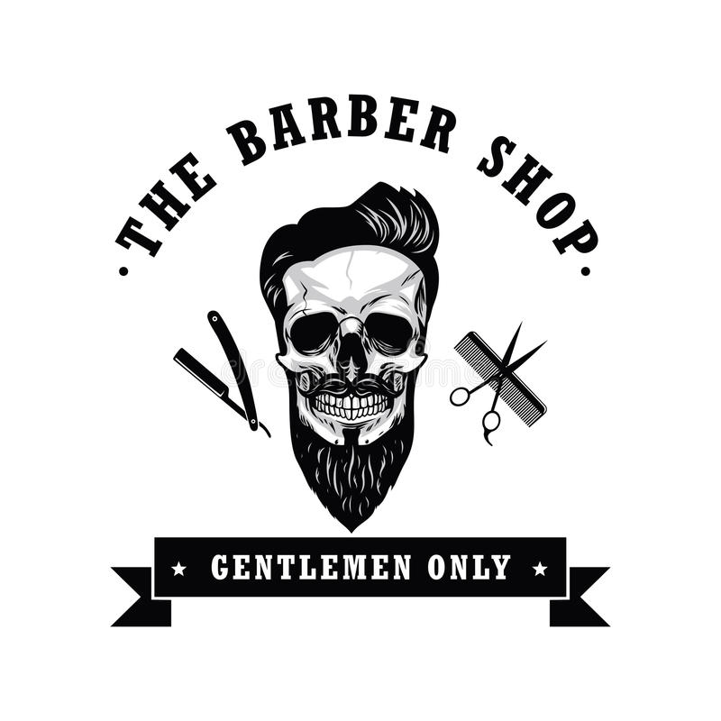 Illustration de vecteur de Barber Shop Logo Design Template de vintage de crâne illustration stock
