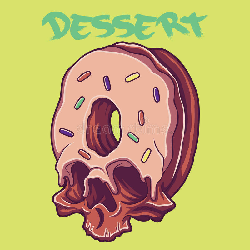 Illustration de vecteur de beignet de crâne images libres de droits