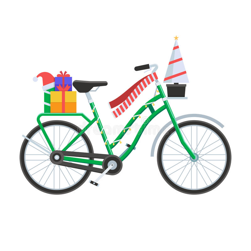 Illustration de vecteur de bicyclette de Noël illustration de vecteur
