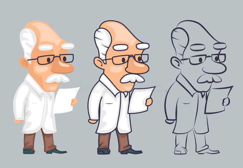Illustration de vecteur de caractère d'étude de papier de lecture de scientifique de Lineart illustration libre de droits