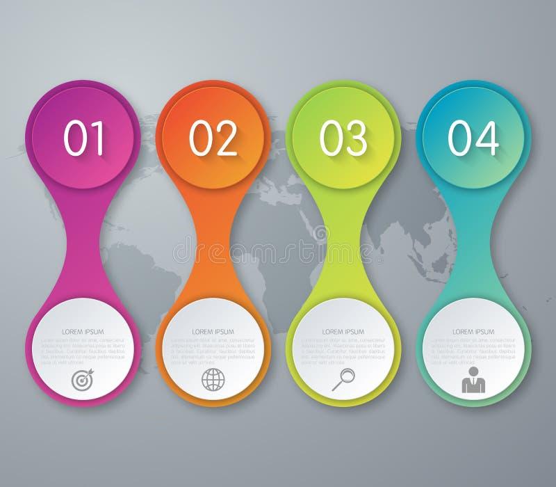 Illustration de vecteur de cercle d'infographics de quatre options illustration libre de droits