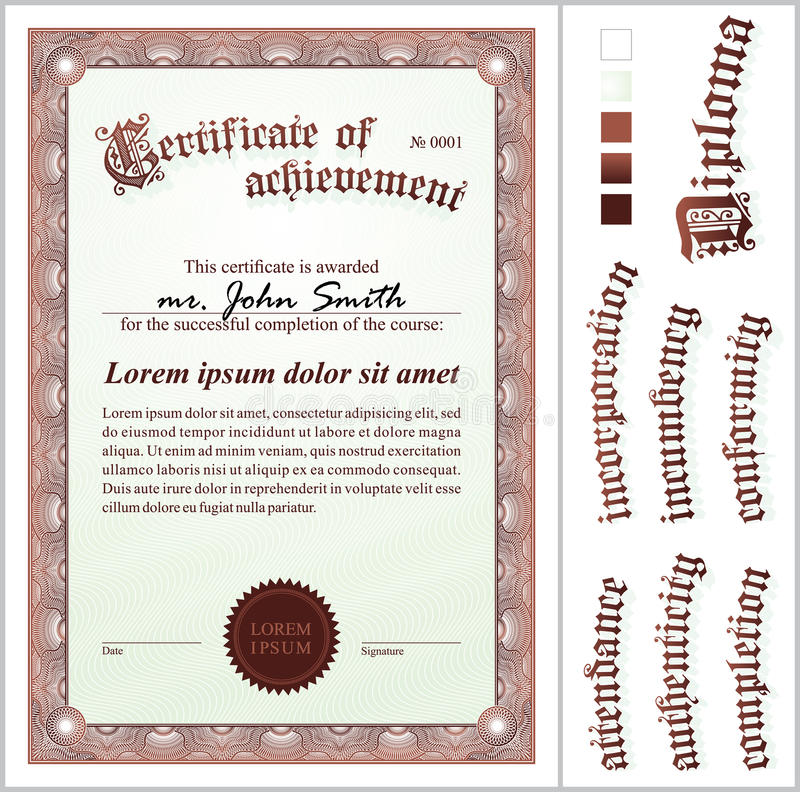 Illustration de vecteur de certificat brun illustration stock