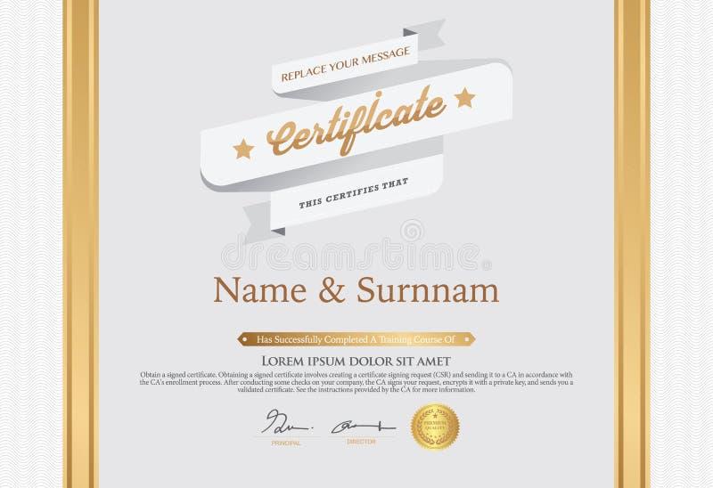 Illustration de vecteur de certificat détaillé d'or illustration de vecteur