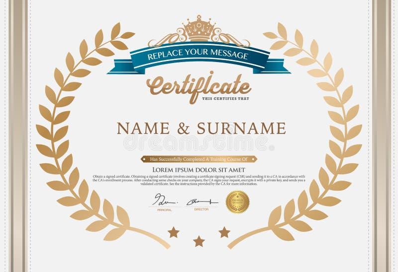 Illustration de vecteur de certificat détaillé d'or illustration libre de droits