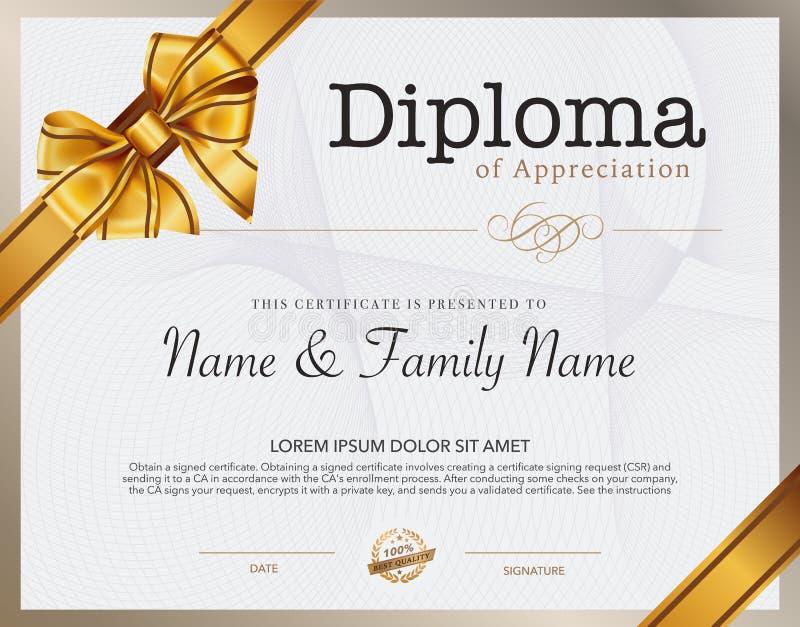 Illustration de vecteur de certificat détaillé d'or illustration stock