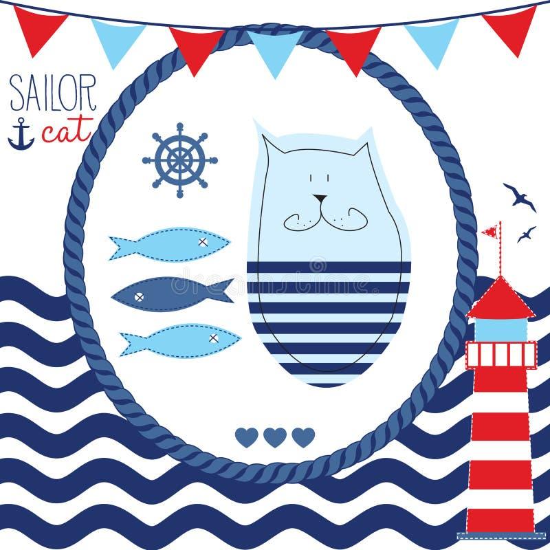 Illustration de vecteur de chat de marin illustration de vecteur