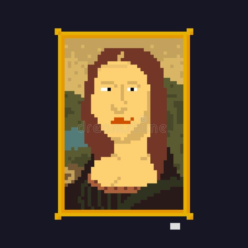 Illustration de vecteur de chef d'oeuvre de dame de dessin de style d'art de pixel illustration stock